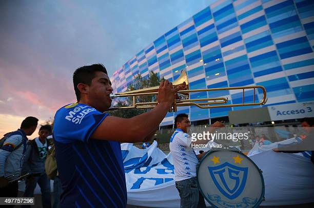 Fans of Puebla arrive to the Cuahtemoc Stadium prior the friendly match between Puebal and Boca Juniors at Cuauhtemoc Stadium on November 18 2015 in...