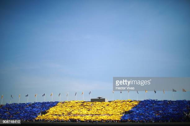 Fans of Pumas cheer for their team prior the second round match between Pumas UNAM and America as part of the Torneo Clausura 2018 Liga MX at...