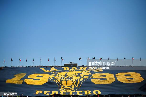 Fans of Pumas hold a banner prior the seventh round match between Pumas UNAM and America as part of the Torneo Clausura 2019 Liga MX at Olimpico...