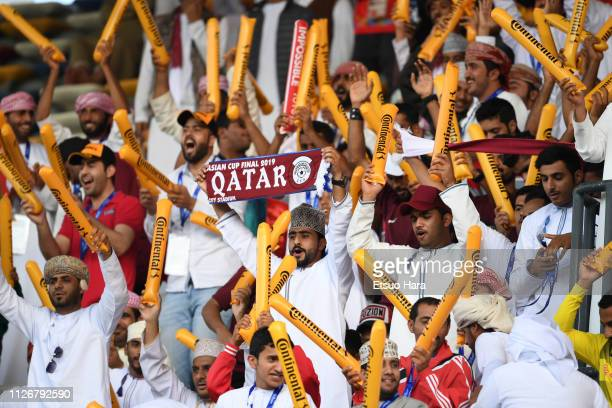 Fans of Qatar cheer prior to the AFC Asian Cup final match between Japan and Qatar at Zayed Sports City Stadium on February 01 2019 in Abu Dhabi...