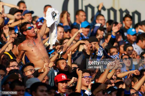 Fans of Queretaro cheer for their team during the 7th round match between Queretaro and Atletico San Luis as part of the Torneo Clausura 2020 Liga MX...