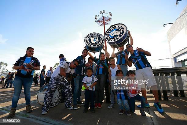 Fans of Queretaro pose prior the 9th round match between Queretaro and Chivas as part of the Clausura 2016 Liga MX at La Corregidora Stadium on March...