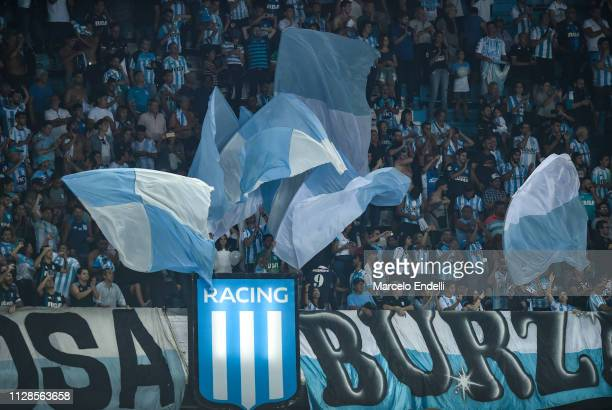 Fans of Racing Club cheer for their team during a match between Racing Club and Estudiantes as part of Superliga 2018/19 at Presidente Peron Stadium...