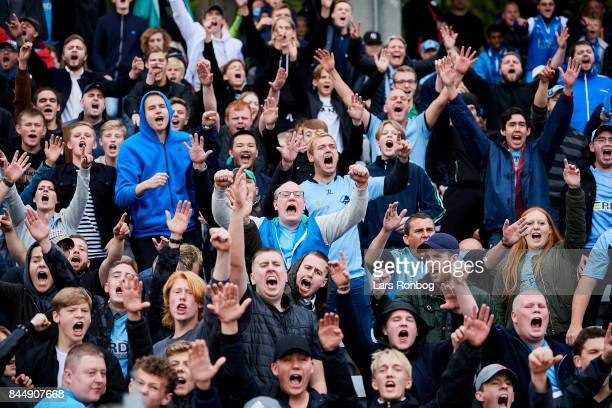 Fans of Randers FC celebrate after the Danish Alka Superliga match between AGF Aarhus and Randers FC at Ceres Park on September 9 2017 in Aarhus...