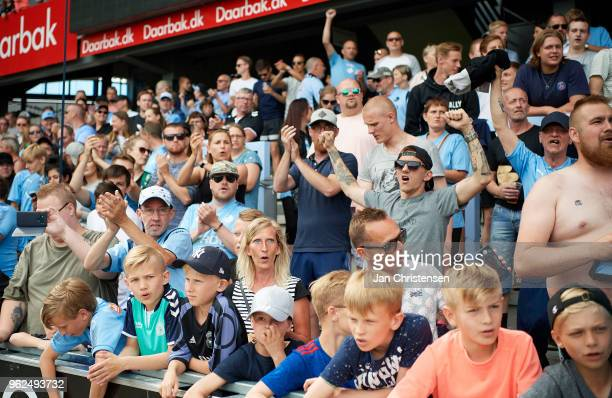 Fans of Randers FC celebrate that Randers FC still playing in the best league next season after the Danish Alka Superliga match between Randers FC...