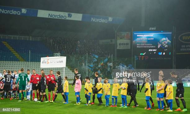 Fans of Randers FC cheer during line up prior to the Danish Alka Superliga match between OB Odense and Randers FC at EWII Park on February 20 2017 in...