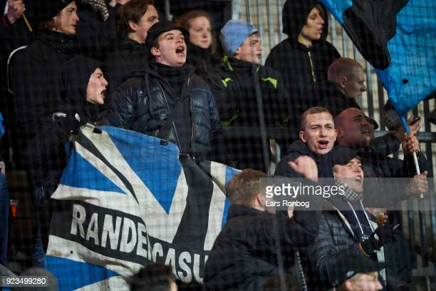 Fans of Randers FC cheer during the Danish Alka Superliga match between AC Horsens and Randers FC at CASA Arena Horsens on February 23 2018 in...