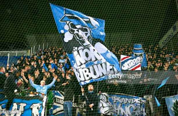 Fans of Randers FC cheer during the Danish Alka Superliga match between OB Odense and Randers FC at EWII Park on February 20 2017 in Odense Denmark