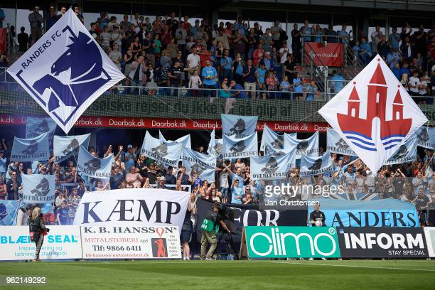 Fans of Randers FC doing a tifo prior to the Danish Alka Superliga match between Randers FC and Lyngby BK at BioNutria Park Randers on May 21 2018 in...
