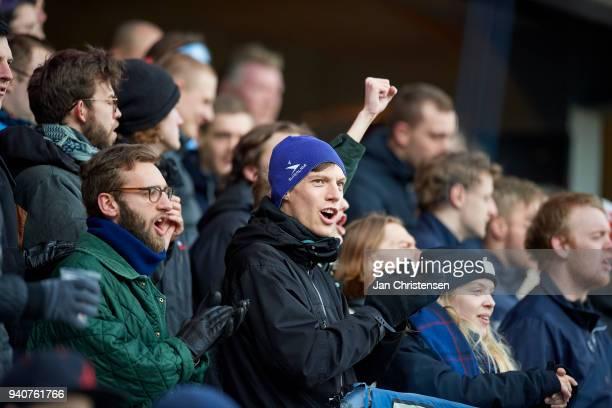Fans of Randers FC during the Danish Alka Superliga match between Randers FC and Lyngby BK at BioNutria Park Randers on April 01 2018 in Randers...