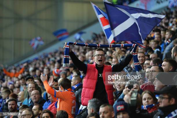 Fans of Rangers show their support during the Ladbrokes Scottish Premier League between Celtic and at Ibrox Stadium on December 29 2018 in Glasgow...