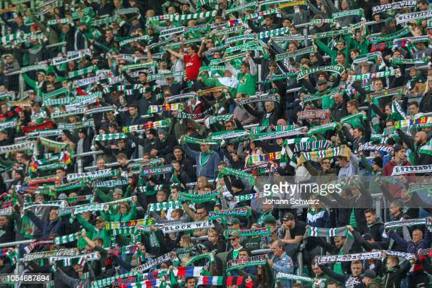 Fans of Rapid with club scarves during the tipico Bundesliga match between Rapid Wien v FC Admira Wacker at Allianz Stadion on October 28, 2018 in...