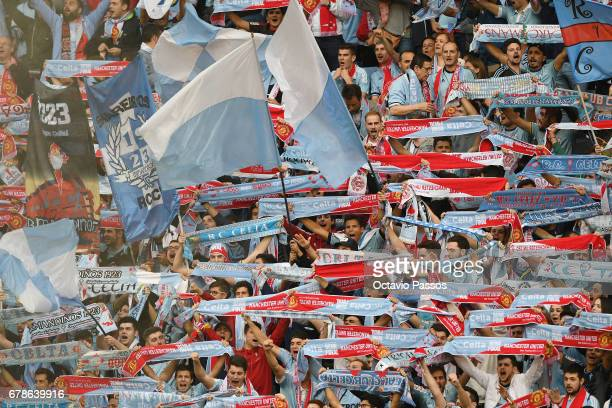 Fans of RC Celta during the UEFA Europa League semi final first leg match between Celta Vigo and Manchester United at Estadio Balaidos on May 4 2017...