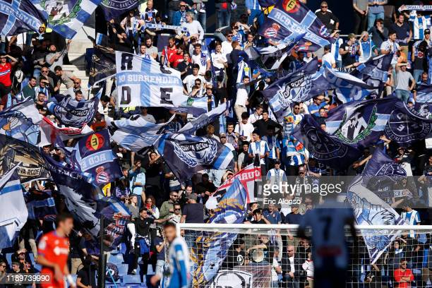 Fans of RCD Espanyol show their support during the Liga match between RCD Espanyol and Getafe CF at RCDE Stadium on November 24, 2019 in Barcelona,...