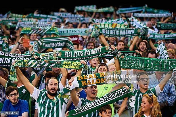 Fans of Real Betis Balompie during the match between Real Betis Balompie vs RCD Espanyol as part of La Liga at Benito Villamarin stadium on October...