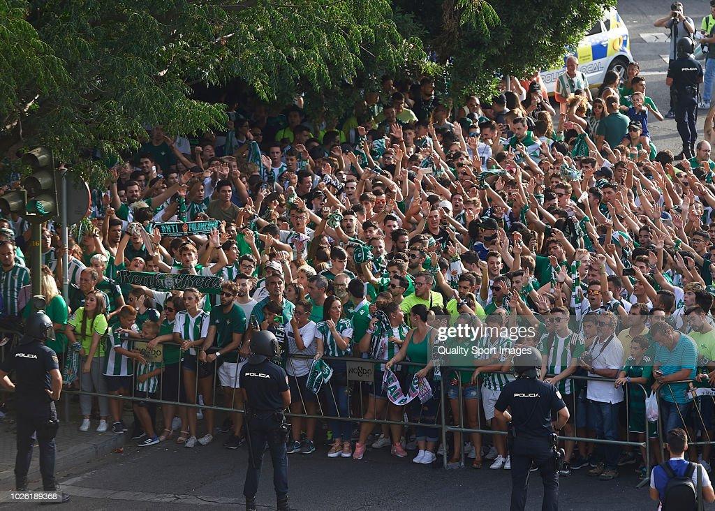 Fans of Real Betis prior to the La Liga match between Real Betis Balompie and Sevilla FC at Estadio Benito Villamarin on September 2, 2018 in Seville, Spain.