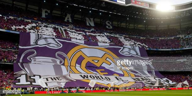 Fans of Real Madrid show a choreo during the La Liga match between Real Madrid CF and FC Barcelona at the Santiago Bernabeu stadium on April 23 2017...