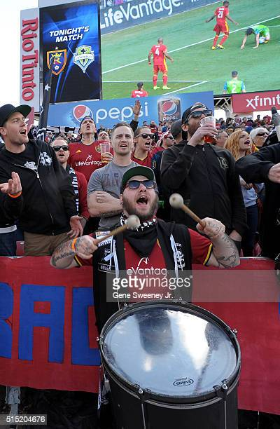 Fans of Real Salt Lake cheer the team on during the first half against Seattle Sounders FC at Rio Tinto Stadium on March 12 2016 in Sandy Utah