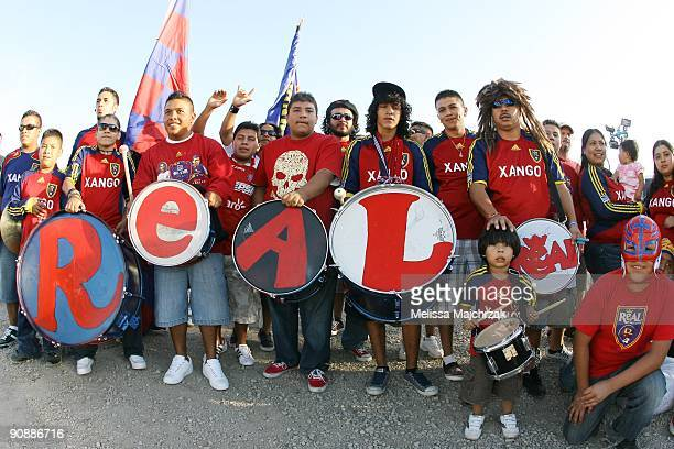 Fans of Real Salt Lake get ready to watch the game against the Chicago Fire at Rio Tinto Stadium on September 12 2009 in Sandy Utah