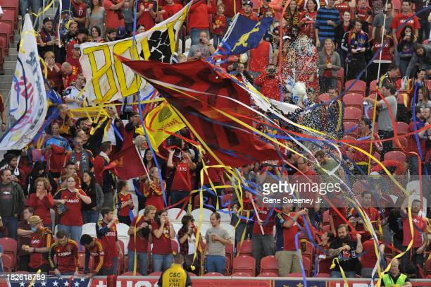 Fans of Real Salt Lake greet their team before a game against DC United at Rio Tinto Stadium October 1 2013 in Sandy Utah