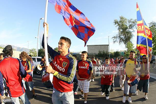 Fans of Real Salt Lake march to the stadium to watch the game against the Chicago Fire at Rio Tinto Stadium on September 12 2009 in Sandy Utah