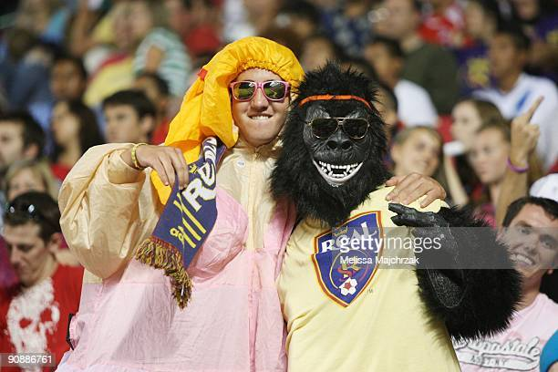 Fans of Real Salt Lake watch the game against the Chicago Fire at Rio Tinto Stadium on September 12 2009 in Sandy Utah