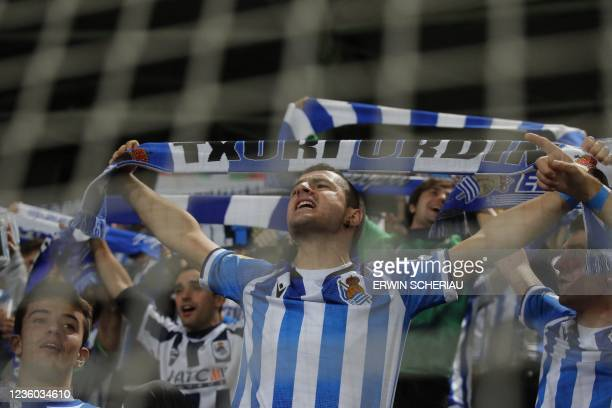 Fans of Real Sociedad celebrate during the UEFA Europa League group B football match between SK Sturm Graz and Real Sociedad de Futbol in Graz, on...