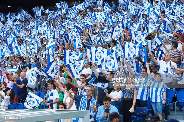 Fans of Real Sociedad cheer up during the Liga match between Real Sociedad and Club Atletico de Madrid at Estadio Reale Arena on September 14 2019 in...