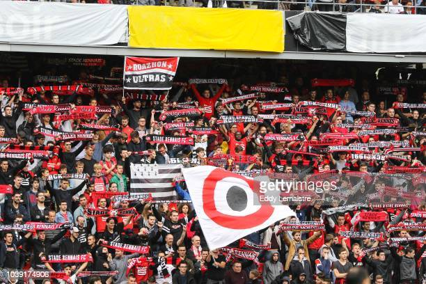 Fans of Rennes during the Ligue 1 match between Rennes and Paris Saint Germain at Roazhon Park on September 23 2018 in Rennes France