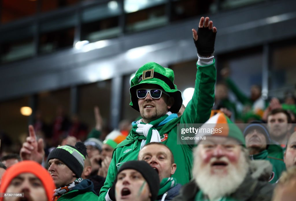 Fans of Republic of Ireland during the FIFA 2018 World Cup Qualifier Play-Off: First Leg between Denmark and Republic of Ireland at Telia Parken on November 11, 2017 in Copenhagen, Denmark.