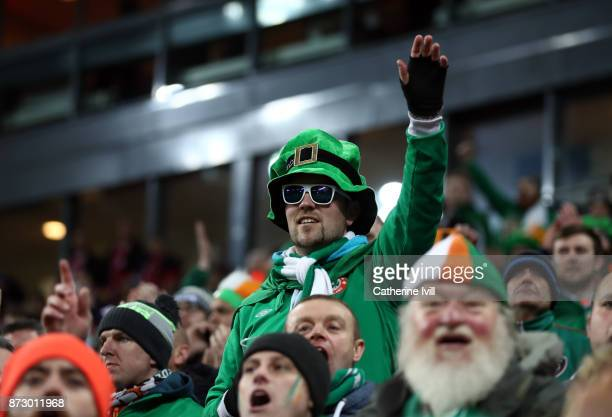 Fans of Republic of Ireland during the FIFA 2018 World Cup Qualifier PlayOff First Leg between Denmark and Republic of Ireland at Telia Parken on...