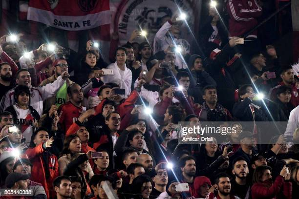 Fans of River farewell Fernando Cavenaghi after the Fernando Cavenaghi's farewell match at Monumental Stadium on July 01 2017 in Buenos Aires...
