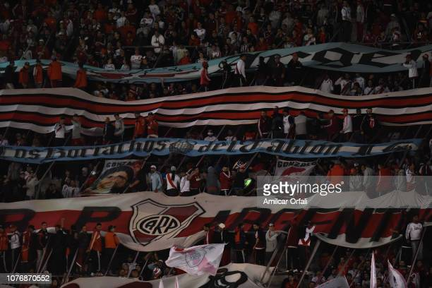 Fans of River Palte cheer for their team during a match between River Plate and Gimnasia y Esgrima La Plata as part of Superliga 2018/19 at Estadio...