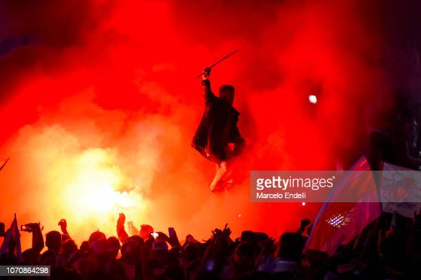 Fans of River Plate celebrate after winning the second leg of the final match of Copa CONMEBOL Libertadores 2018 between River Plate and Boca Juniors...