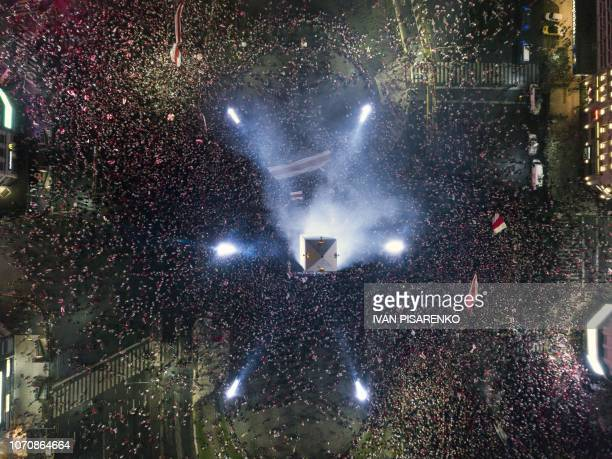 Fans of River Plate celebrate at the Plaza de la Republica square in Buenos Aires Argentina after their team won the allArgentine Copa Libertadores...