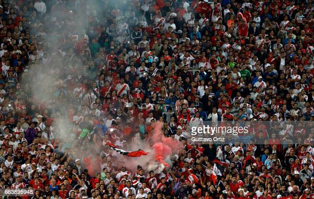 Fans of River Plate celebrate the second goal during the match between Godoy Cruz and River Plate as part of the Torneo Primera Division 2016/17 at...