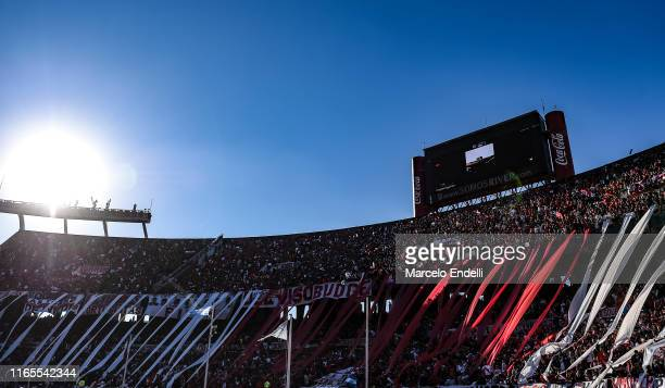 Fans of River Plate cheer for their team before a match between River Plate and Boca Juniors as part of Superliga 2019/20 at Estadio Monumental...