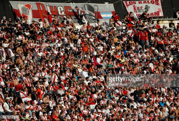 Fans of River Plate cheer for their team before a match between River Plate and Rosario Central as part of Superliga 2017/18 at Estadio Monumental...