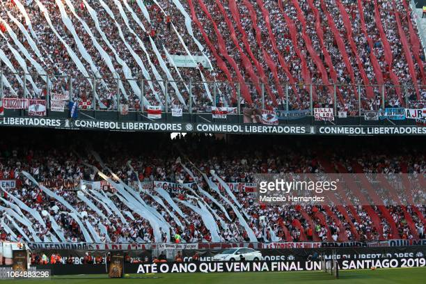 Fans of River Plate cheer for their team before the second leg final match of Copa CONMEBOL Libertadores 2018 between River Plate and Boca Juniors at...