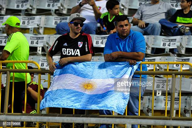 Fans of River Plate cheer for their team during a group stage match between Trujillanos and River Plate as part of Copa Bridgestone Libertadores 2016...