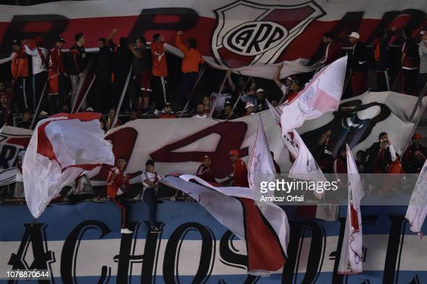 Fans of River Plate cheer for their team during a match between River Plate and Gimnasia y Esgrima La Plata as part of Superliga 2018/19 at Estadio...