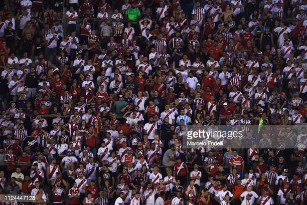 Fans of River Plate cheer for their team during a match between River Plate and Union as part of Round 12 of Superliga 2018/19 at Estadio Monumental...