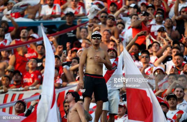 Fans of River Plate cheer for their team during a match between River Plate and Godoy Cruz as part of Argentina Superliga 2017/18 at Estadio...