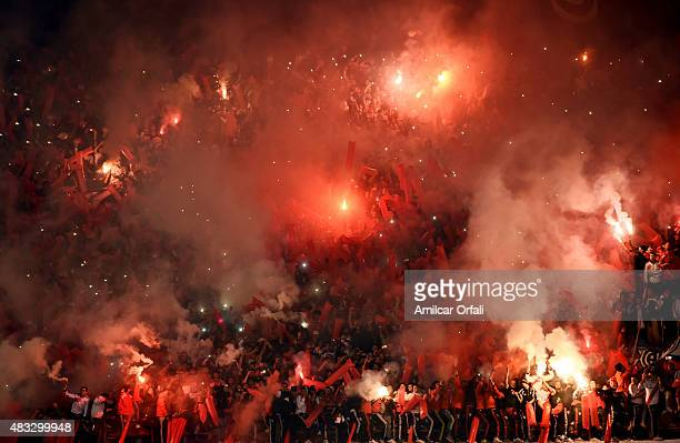 Fans of River Plate cheer for their team during a second leg final match between River Plate and Tigres UANL as part of Copa Bridgestone Libertadores...