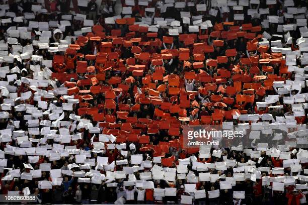 Fans of River Plate cheer for their team during the Semi Final firstleg match between River Plate and Gremio as part of Copa CONMEBOL Libertadores...