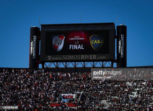 Fans of River Plate wait in stands before the second leg final match of Copa CONMEBOL Libertadores 2018 between River Plate and Boca Juniors at...