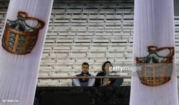 Fans of River Plate wait in the stands prior a second leg match between River Plate and Guarani as part of round of 16 of Copa CONMEBOL Libertadores...