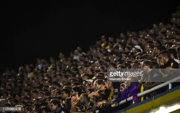 Fans of Rosario Central cheer for their team during a match between Rosario Central and River Plate as part of Superliga 2018/19 at Estadio Gigante...