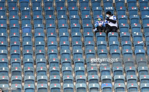 Fans of Rostock are pictured during the 3. Liga match between Hansa Rostock and Hallescher FC at Ostseestadion on March 20, 2021 in Rostock, Germany....