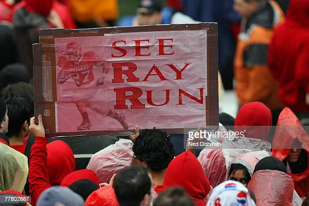 Fans of running back Ray Rice of the Rutgers University Scarlett Knights hold up a sign against the West Virginia Mountaineers on October 27, 2007 at...